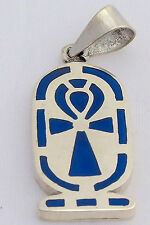 Ankh .925 Silver Pendant inlaid with Lapis Lazuli (Hallmarked)
