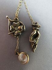 VTG Good Luck Charm Pendant Necklace Gold Plated Fingers Crossed Mustard Seed