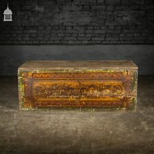 More details for 19th c pine gypsy showman's travel chest with original artwork