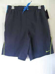 NWT Men's Nike Dark Blue,Light Blue,Lime Green Stretch Band Swimming Trunks sz M
