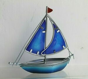 Blue Stained Glass & Metal Sailing Yacht  Coastal Nautical Ornament 17 x 17 cm
