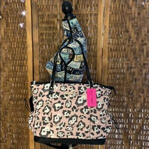 NWT Betsey Johnson Quilted Pink Leopard Print Weekender Large Tote