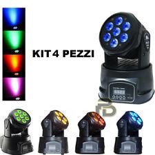 4 X PROIETTORE LED RGB TESTA MOBILE ROTANTE EFFETTI DISCO 7 LED WASH DMX