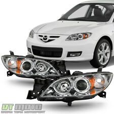 Chrome 2004-2009 Mazda 3 Sedan Headlights Halogen Projector Headlamps Left+Right