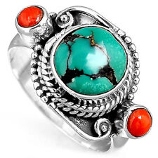 Silver Ring Solid 925 Sterling Turquoise Coral Gemstone Boho Magic Jewelry Size