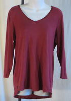 Womans Pure + Good Anthropolgy Maroon Top Blouse Shirt 3/4 Sleeve Pullover Large
