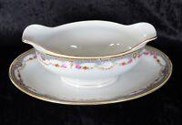 Antique Porcelain Union T Floral Swag Oval Gravy Boat Sauce Dish Czecho-Slovokia