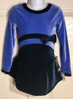 GK VINCA VELVET ICE FIGURE SKATE CHILD SMALL LgSLV MIDRIFF BOW DRESS Sz CS NWT!