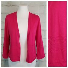 89th & Madison S Fuchsia Pink Open-Front Pointelle Trim Cardigan Sweater 3/4 Slv