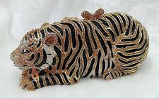 Gold /Black~Clear Handmade Austrian Crystal Tiger 3D NEW Purse Cocktail Bag