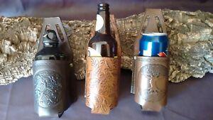 Embossed leather bottle holder, beer can cozie, drink holder for your belt.