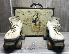 Vintage White Leather Chicago Roller Skates sz 7 with case and wrenches