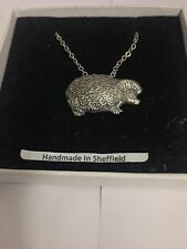 "Hedgehog PP-A25 Emblem Silver Platinum Plated Necklace 18"""