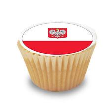 12 x Poland / Polish Flag - Pre Cut Cupcake Toppers Premium Sugar Icing Sheet