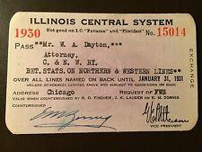 1930 Illinois Central Railroad Company railroad pass