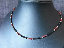 "14"" - 22"" glass beaded collar choker necklace Black & Red Glass Seed Bead #2"