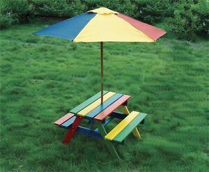 Children's Wooden Rainbow Garden kids Picnic Table Bench Parasol Set -new