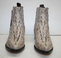 Men Genuine Cowhide Leather Crocodile Print Short Ankle Boots Handcrafted