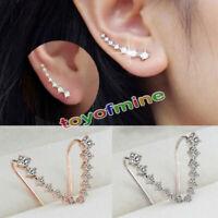 1 Pair Nuevo Plata Pendientes Aretes Ear Cuff Clip Oreja Cristal Joyería Mujer