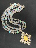 Vintage 2028 Aurora Borealis Crystal  Dangle Pendant 3 Strand Wedding Necklace
