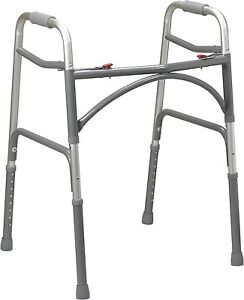 Bariatric Heavy Duty Two Button Folding Walker 500 lbs Capacity by Drive 10220-1