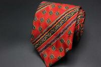 BULLOCK & JONES SF Silk Tie. Red w Blue & Yellow Striped Geometric. Made France.