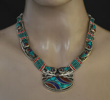Ethnic Sterling Silver Necklace  Turquoise Tibetan Stone Coral jewelry LAXP2