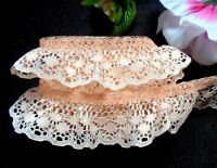 Ruffled Lace  1+1//2 inch wide Colonial Rose Ivory  selling by the yard