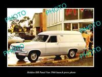 OLD LARGE HISTORIC PHOTO OF GMH 1966 HR HOLDEN PANEL VAN LAUNCH PRESS PHOTO