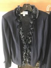 St John Evening Set  Navy Blue Pants Embellished  Sparkle Top Santana Knit