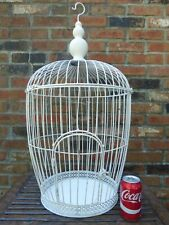 """Vintage Large White Metal Bird Cage 31"""" removable top"""