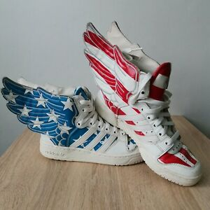 Jeremy Scott ADIDAS Wings 2.0, USA Flag Stars And Red Stripes,V24619  Size-4.5