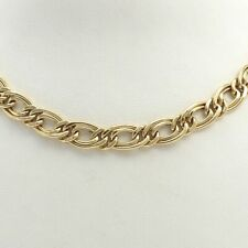 """18K Gold 750 Italy Oval Double Curb Open Link Chain Necklace 17.5"""""""