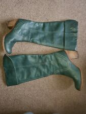 Faith Ladies Green Leather Knee High Boots Size 41/8 Stunning