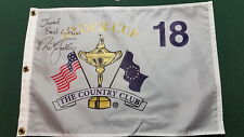Nick Faldo Signed Ryder Cup Flag.  Rare!  Personalized. Tiger Woods Rory Mcilroy