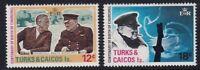 TURKS & CAICOS ISL 30 NOV 1974 WINSTON CHURCHILL BOTH COMMEMORATIVE STAMPS MNH