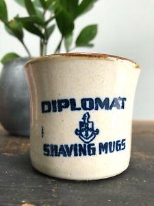 RARE Vintage UHL POTTERY Stoneware DIPLOMAT SHAVING MUGS Advertising ANTIQUE Mug