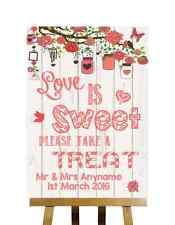 Corail rustique effet bois love is sweet candy buffet personnalisé mariage signe