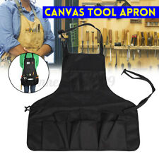 Men Adjustable Tool Apron Canvas With Pockets Utility Gardening Apron Outdoor