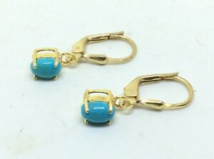 Superb Stunning Pair Of 9ct Gold On Silver Lever Back Earrings With Blue Stones