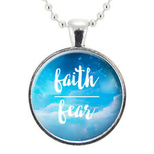 Faith Over Fear Necklace, Religious Jewelry, Gift For Her, Motivational Quote Ma