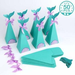 Cola De Sirena 50 Bolsas Cajas De Papel Para Dulces De Cumpleaños Fiestas Niñas