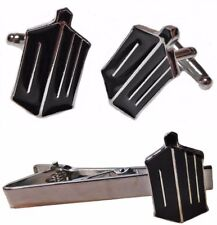 """Doctor Who """"DW"""" Logo Metal Enamel Cuff Link and Tie Clip Set"""