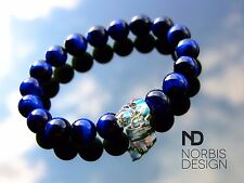 Men Blue Tigers Eye Skull Bracelet with Swarovski Crystal 7-8inch Elasticated