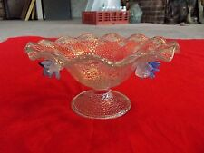 Antique Art Glass Compote Bowl Murano Venetian Silver Adventurine Applied Flower