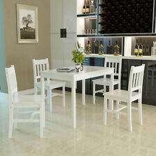 White Dining Table and 4 Chairs Solid Pine Wood Home Kitchen Furniture Modern