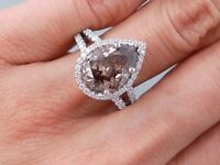 4.66 CARATS CT TW PEAR SHAPE DIAMOND ENGAGEMENT RING NATURAL CHOCOLATE SI1