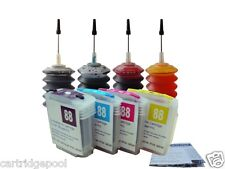 4 HP 88 refillable cartridge OfficeJet Pro L7681 L7700 L7750 L7780 +4x30ml ink