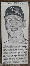 Mickey Mantle Newspaper Clipping - Ready for Stardom - Alan Marver Sketch