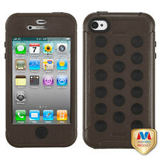 For iPhone 4 4S Rubber IMPACT DOTS TUFF HYBRID Case Skin Phone Cover Brown Black